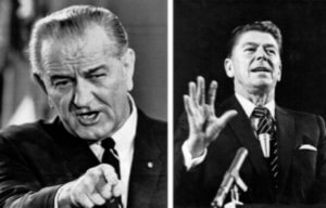President Lyndon Johnson and President Ronald Reagan