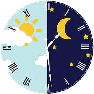 clock with day and night concept with sun and moon