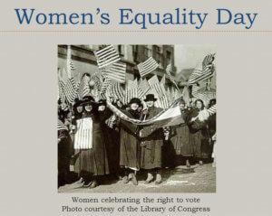 Women celebrating the right to vote.